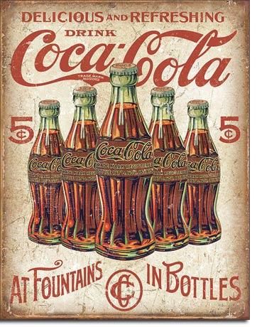 coca cola 5 bottles retro tin sign william valentine collection. Black Bedroom Furniture Sets. Home Design Ideas